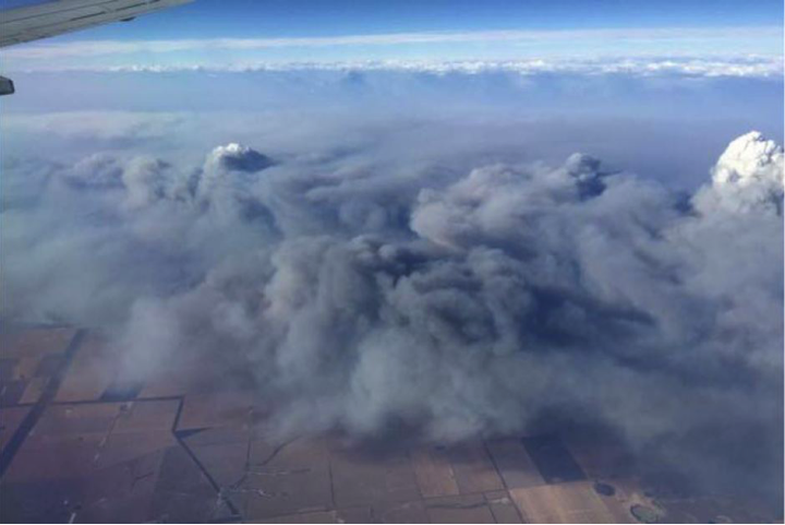 The enormity of the fires could be appreciated from the air